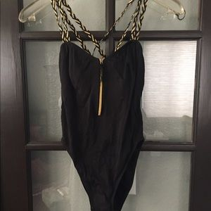 Black and Gold Bathing Suit